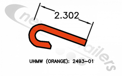 83249343 2493-01 Keith Plank or Slat J-Bearing For V9 Floor Steel Plank UHMW ORANGE J-Bearing - 13100mm